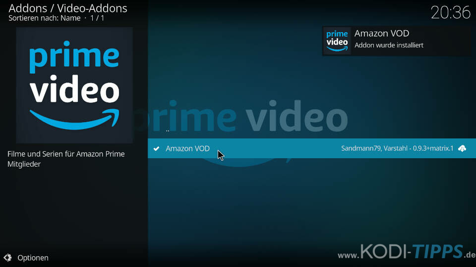 Amazon Prime Kodi Addon installieren - Schritt 10