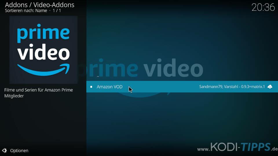 Amazon Prime Kodi Addon installieren - Schritt 7