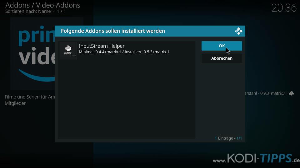Amazon Prime Kodi Addon installieren - Schritt 9
