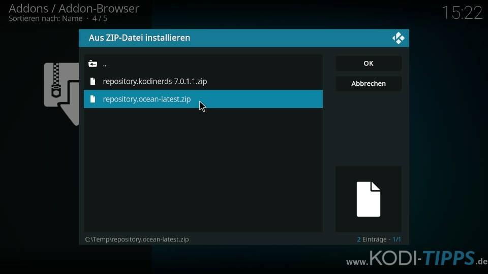 Tide Kodi Addon installieren - Schritt 1