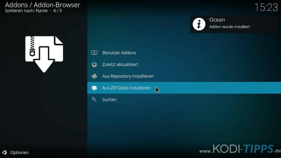Tide Kodi Addon installieren - Schritt 2