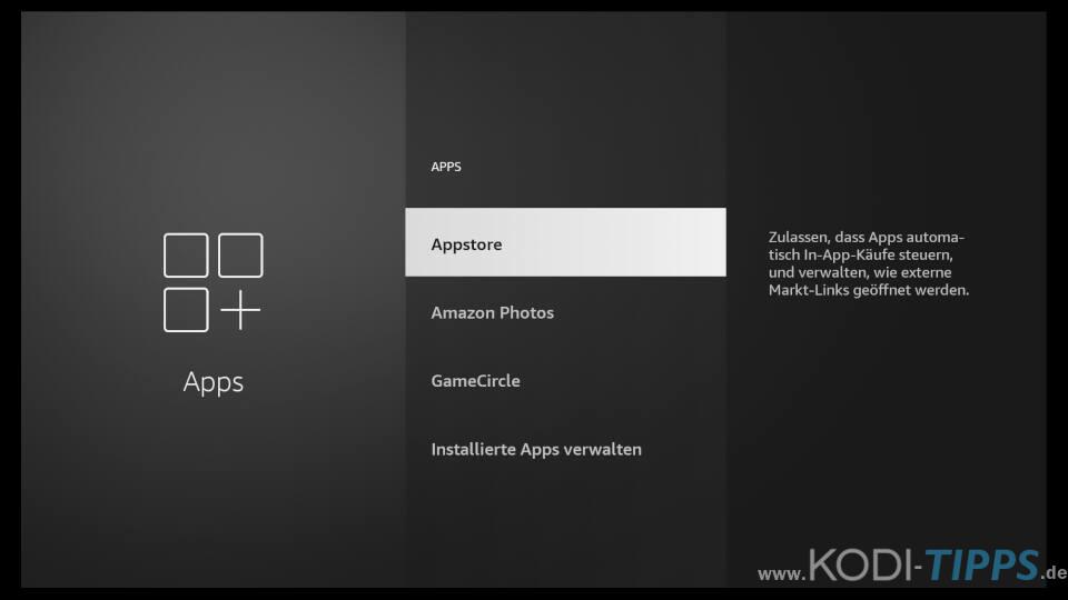 Amazon Fire TV Appstore Einstellungen anpassen 2