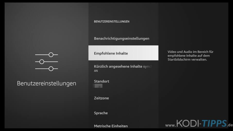 Amazon Fire TV Automatische Wiedergabe von empfohlenen Inhalten deaktivieren 2