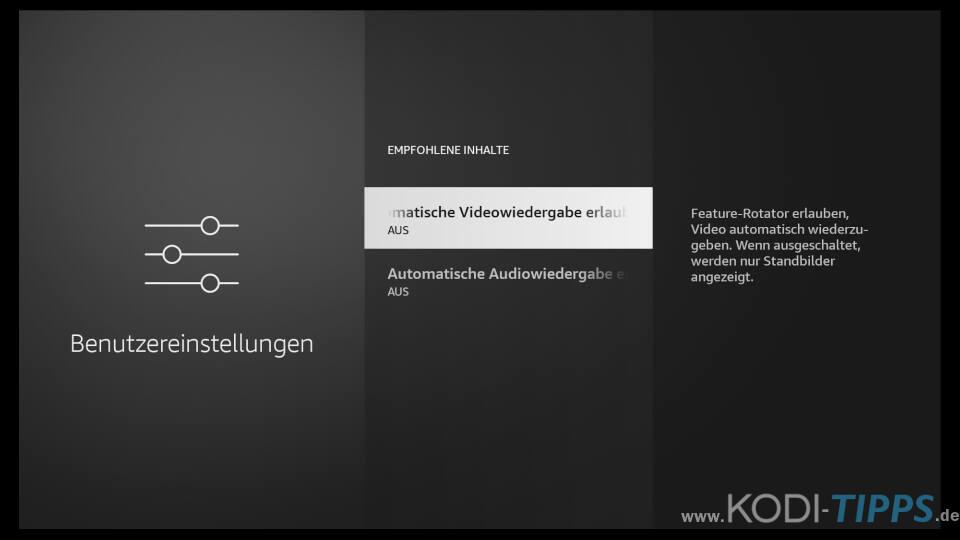 Amazon Fire TV Automatische Wiedergabe von empfohlenen Inhalten deaktivieren 3