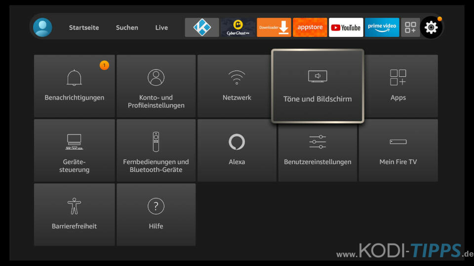 Amazon Fire TV Bildschirm- und Anzeigeeinstellungen anpassen 1
