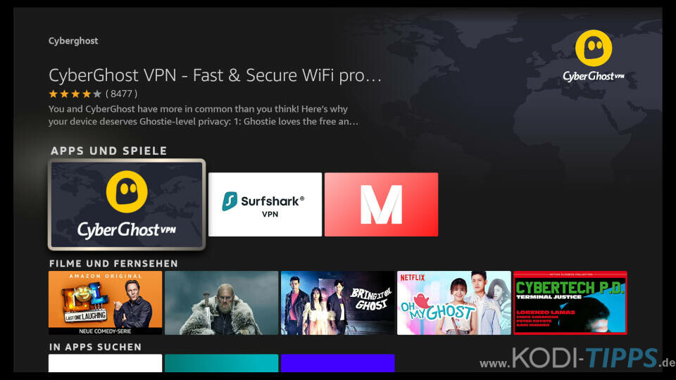 Amazon Fire TV CyberGhost VPN Privatsphäre schützen