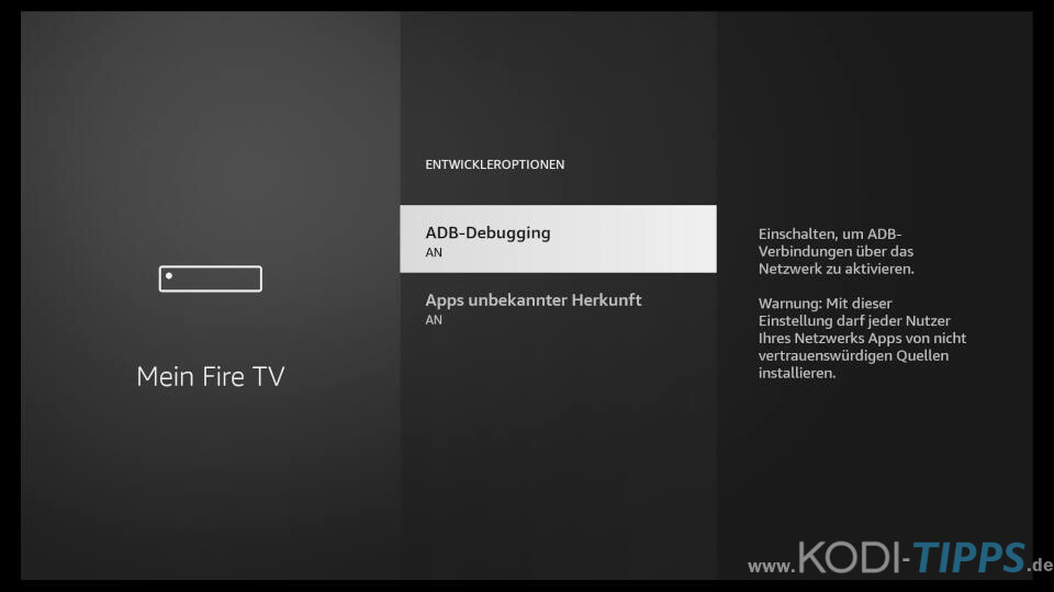 Amazon Fire TV Installation von Apps aus unbekannter Herkunft zulassen 3