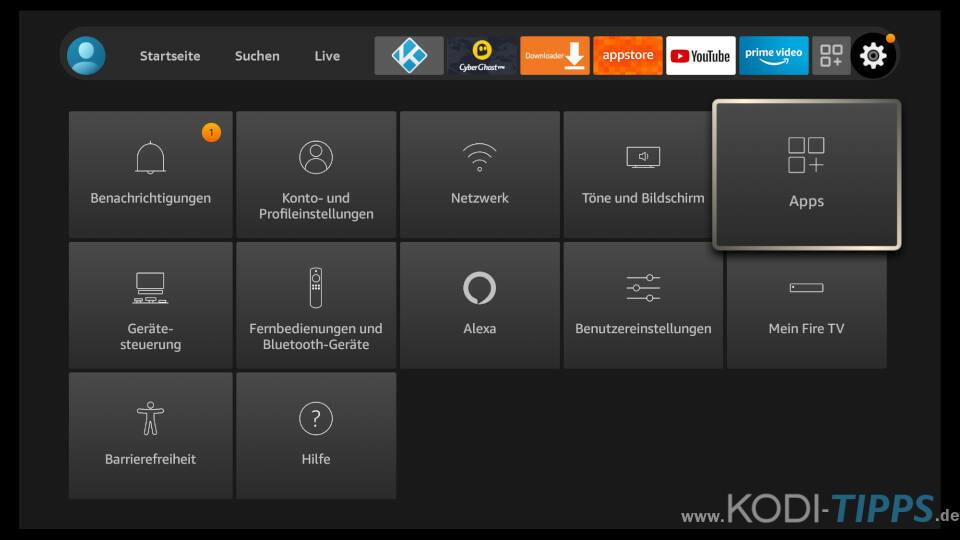 Amazon Fire TV Appstore Einstellungen anpassen 1
