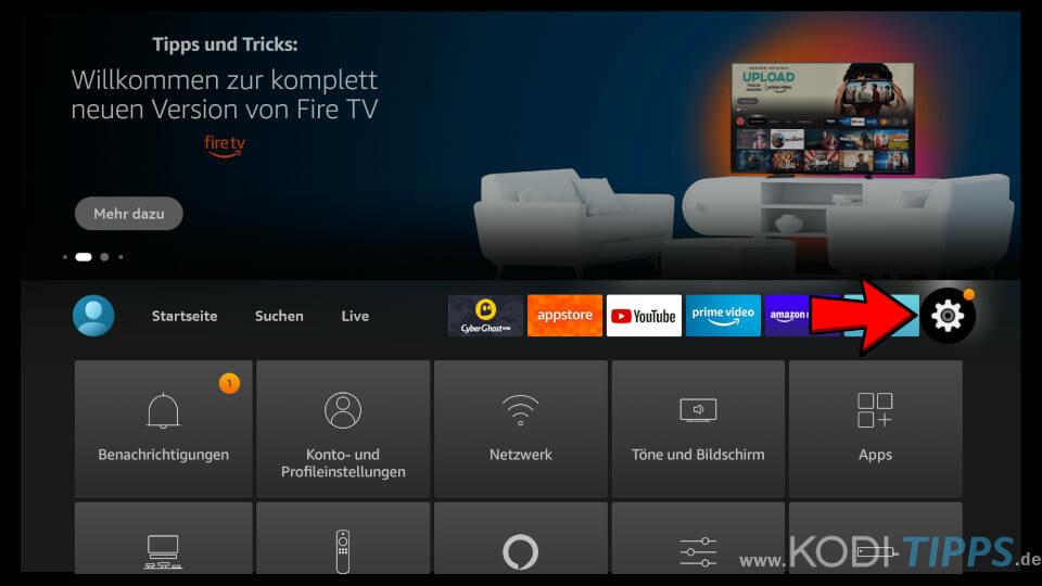 Amazon Fire TV Einstellungen öffnen