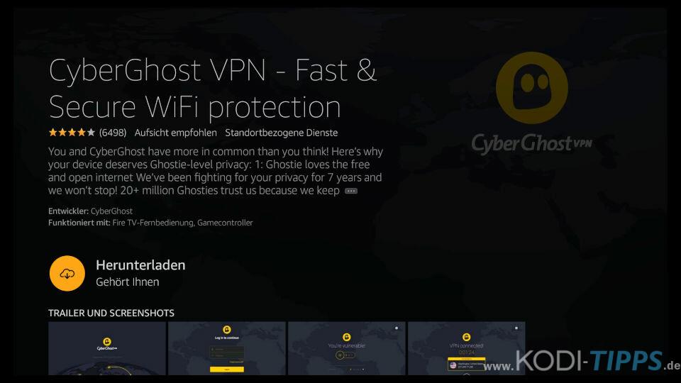 CyberGhost VPN Fire TV App