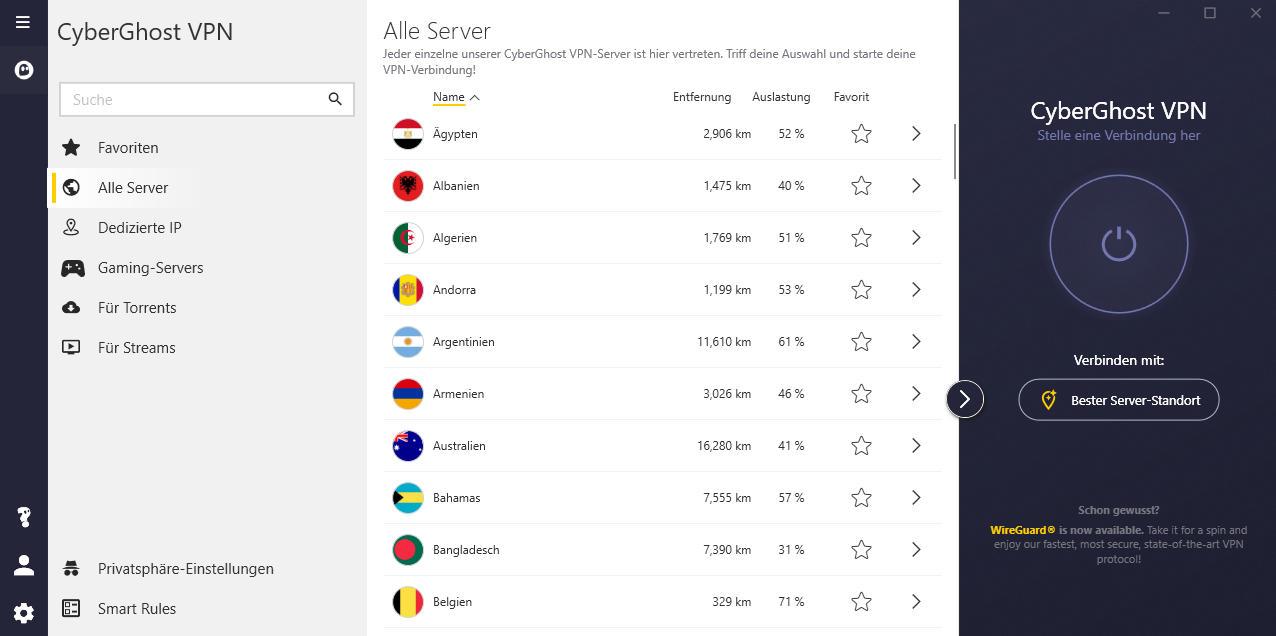CyberGhost VPN Serverliste