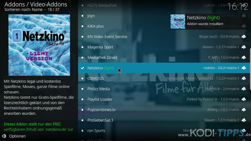 Netzkino Kodi Addon installieren - Schritt 4