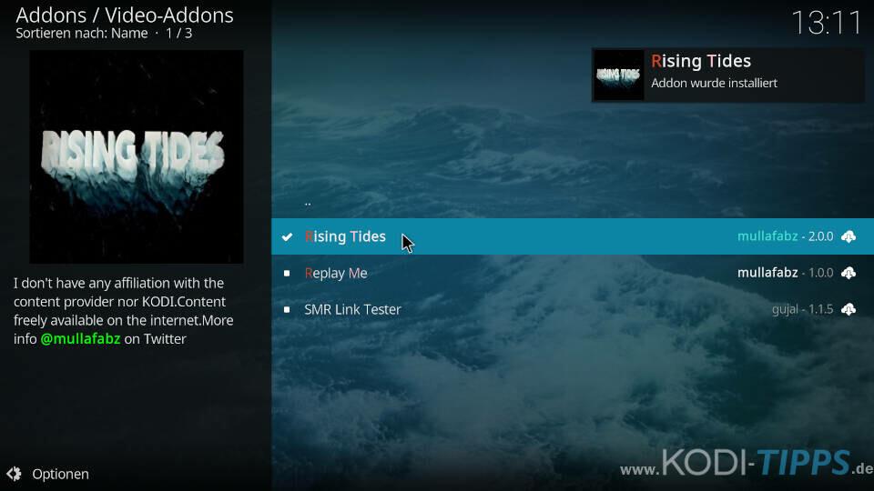 Rising Tides Kodi Addon installieren - Schritt 10