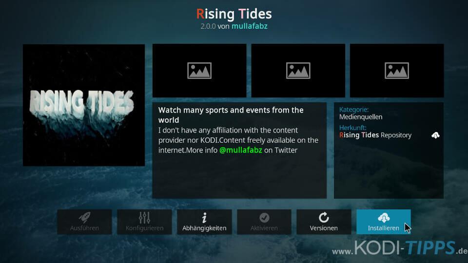 Rising Tides Kodi Addon installieren - Schritt 8