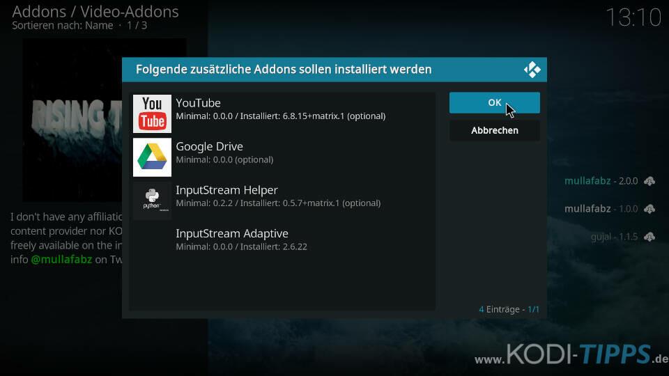 Rising Tides Kodi Addon installieren - Schritt 9