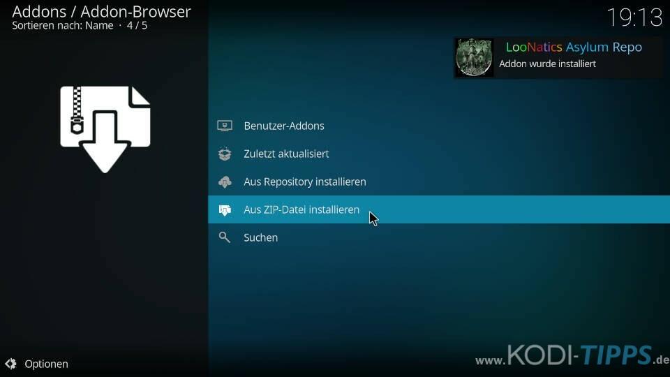 TvTap Kodi Addon installieren - Schritt 3