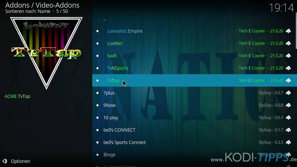 TvTap Kodi Addon installieren - Schritt 7