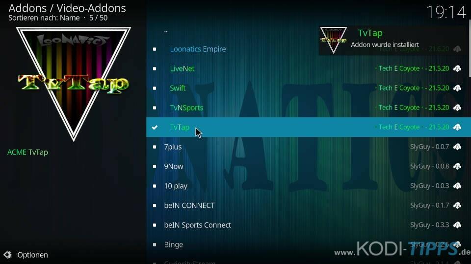 TvTap Kodi Addon installieren - Schritt 9