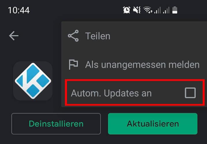 Automatische Kodi Updates ausschalten für Android