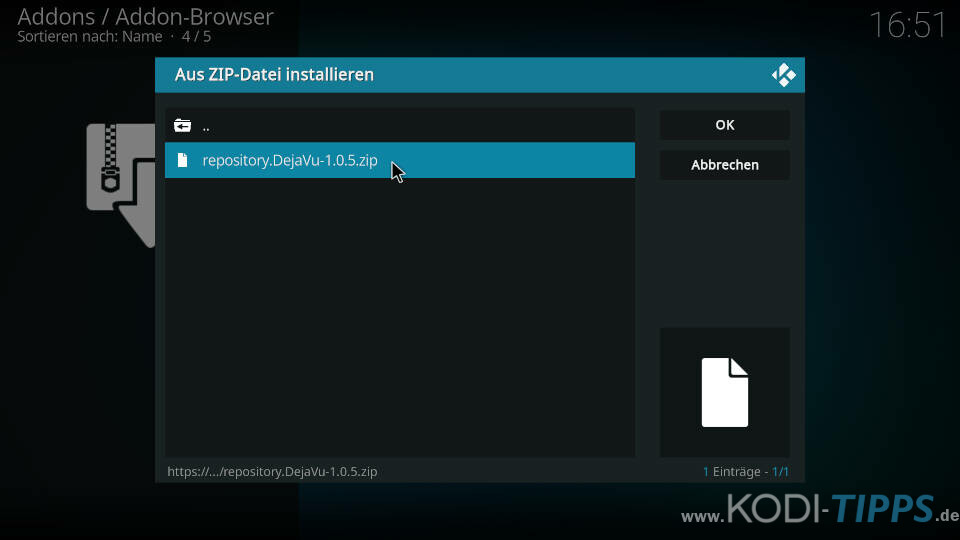 DejaVu Kodi Addon installieren - Schritt 2