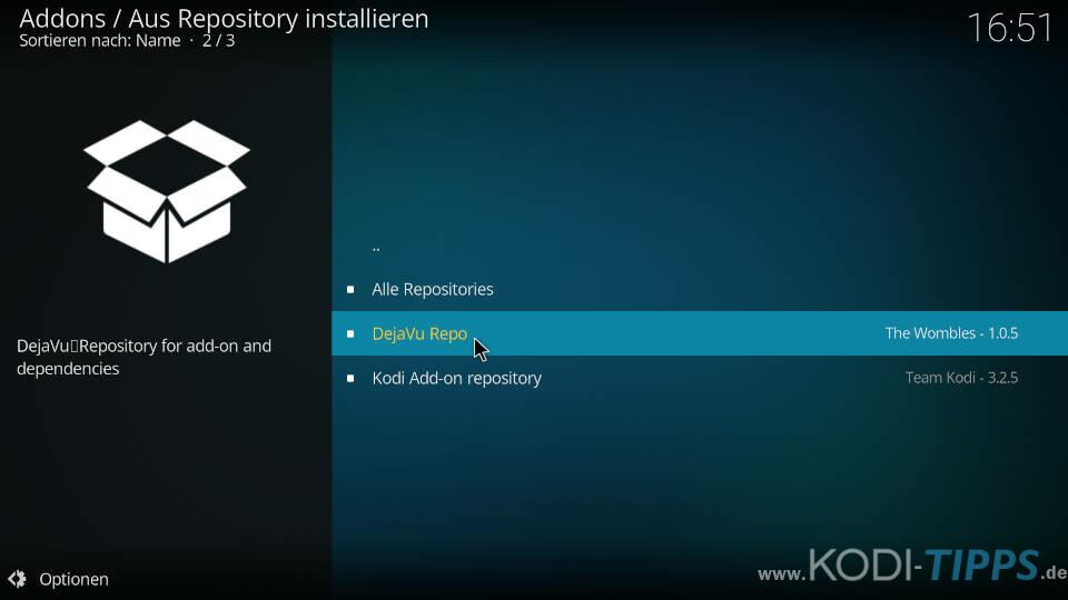 DejaVu Kodi Addon installieren - Schritt 5