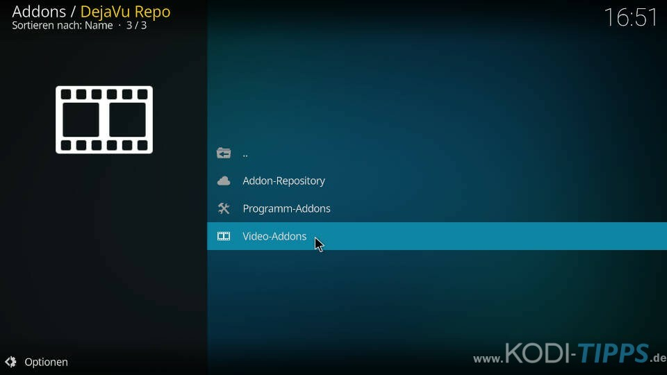 DejaVu Kodi Addon installieren - Schritt 6