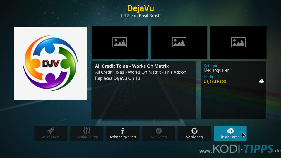 DejaVu Kodi Addon installieren - Schritt 8