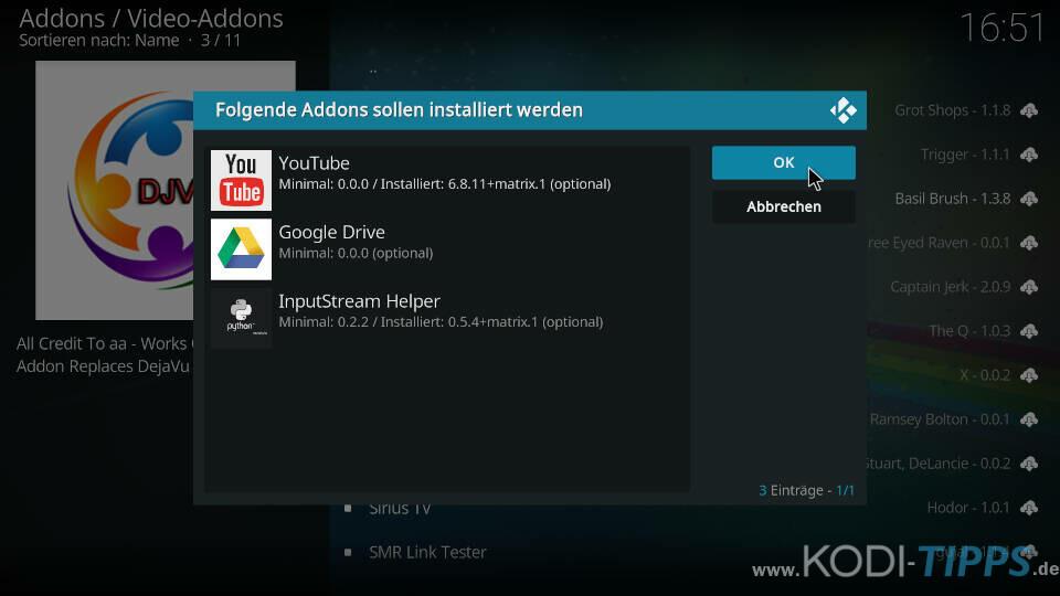 DejaVu Kodi Addon installieren - Schritt 9