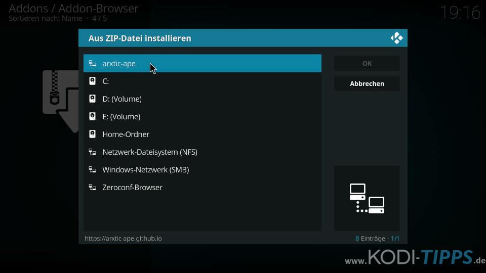 ApeX Sports Kodi Addon installieren - Schritt 1