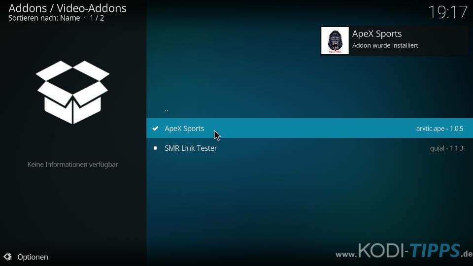 ApeX Sports Kodi Addon installieren - Schritt 10