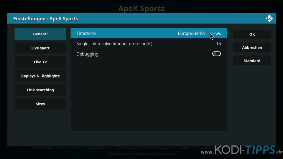 ApeX Sports Kodi Addon installieren - Schritt 12