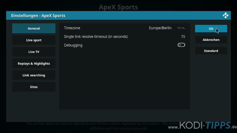 ApeX Sports Kodi Addon installieren - Schritt 13