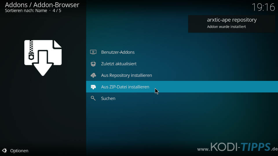 ApeX Sports Kodi Addon installieren - Schritt 3