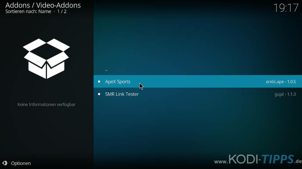 ApeX Sports Kodi Addon installieren - Schritt 7