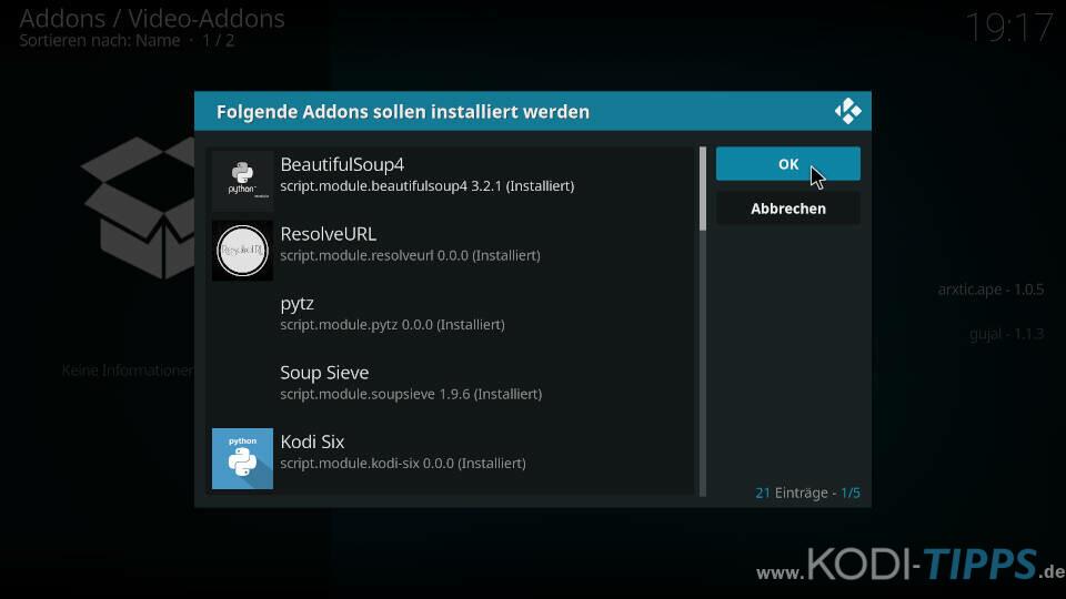 ApeX Sports Kodi Addon installieren - Schritt 9