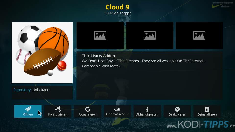 Cloud 9 Kodi Addon installieren - Schritt 11