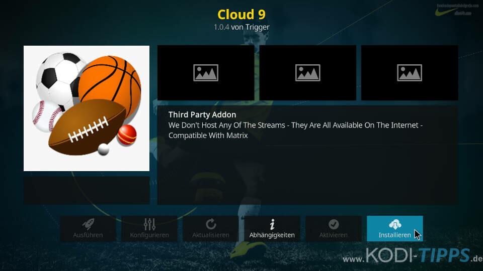 Cloud 9 Kodi Addon installieren - Schritt 8