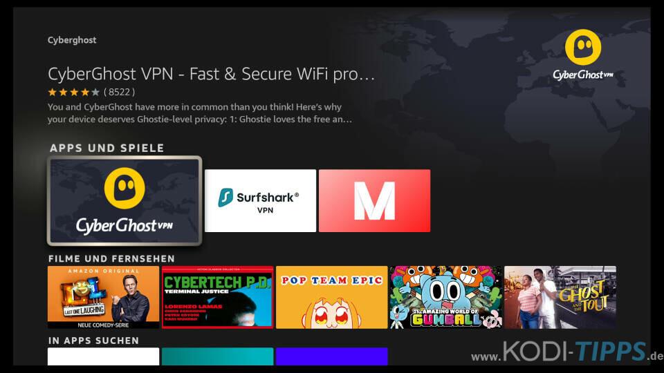 CyberGhost auf Amazon Fire TV installieren - Schritt 3