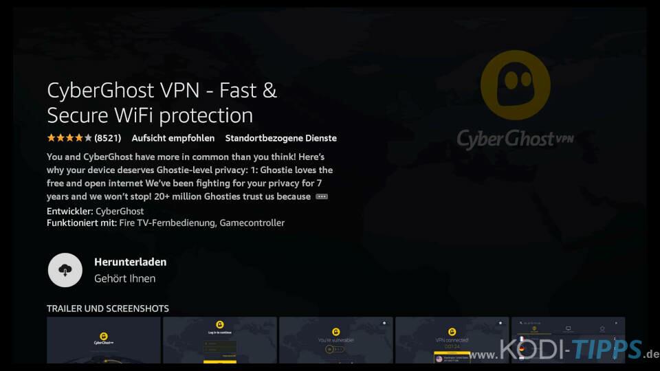 CyberGhost auf Amazon Fire TV installieren - Schritt 4