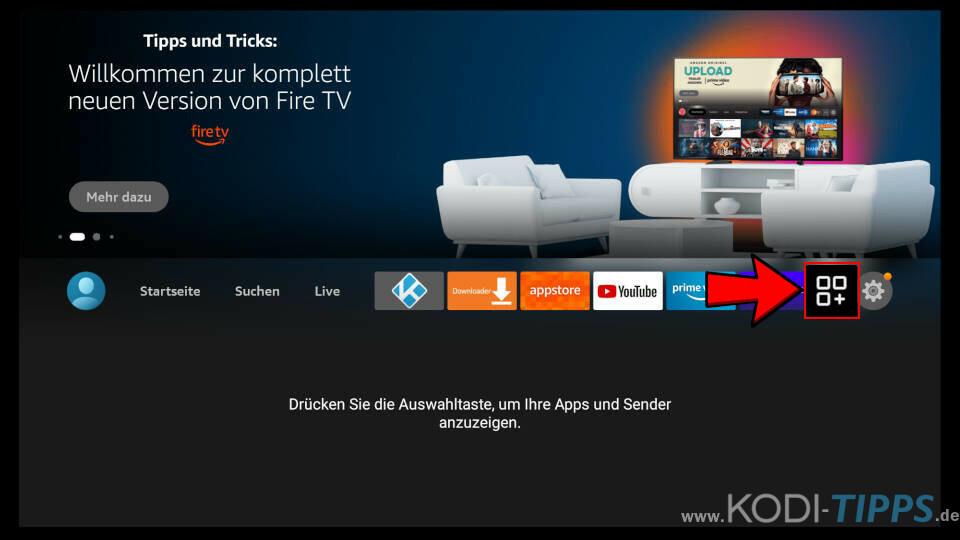 CyberGhost zum Fire TV Hauptmenü hinzufügen - Schritt 1