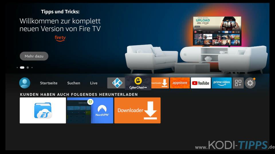 CyberGhost zum Fire TV Hauptmenü hinzufügen - Schritt 4