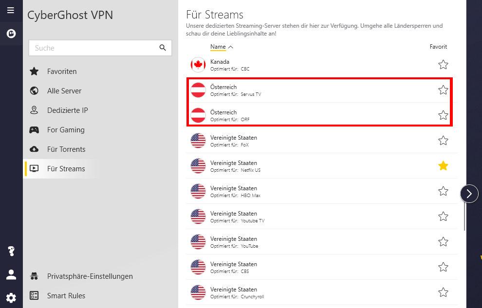 CyberGhost VPN Österreich optimiert für ORF und ServusTV