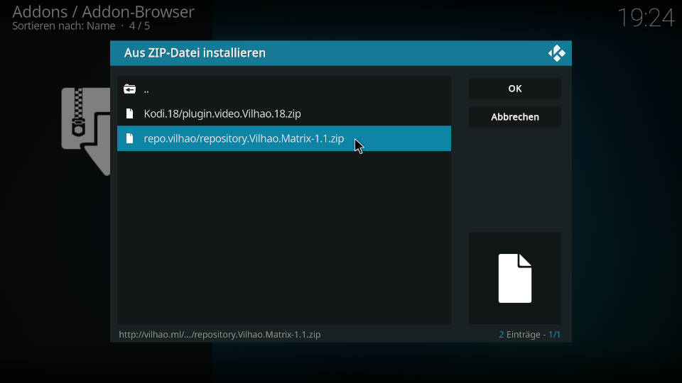 CR7 Kodi Addon installieren - Schritt 2