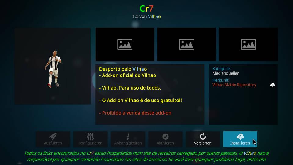 CR7 Kodi Addon installieren - Schritt 8