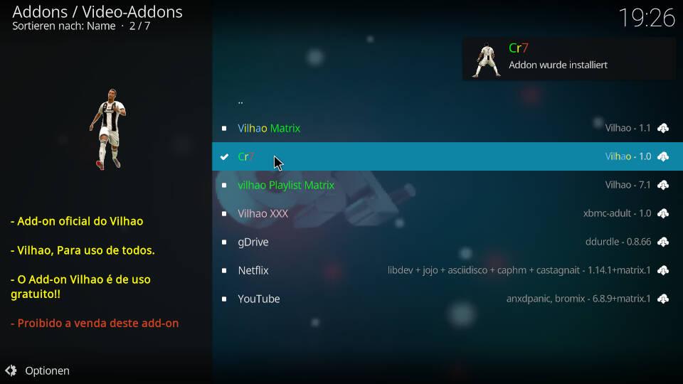 CR7 Kodi Addon installieren - Schritt 9