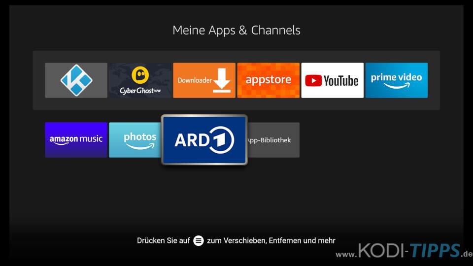 Fire TV Apps löschen - Schritt 2