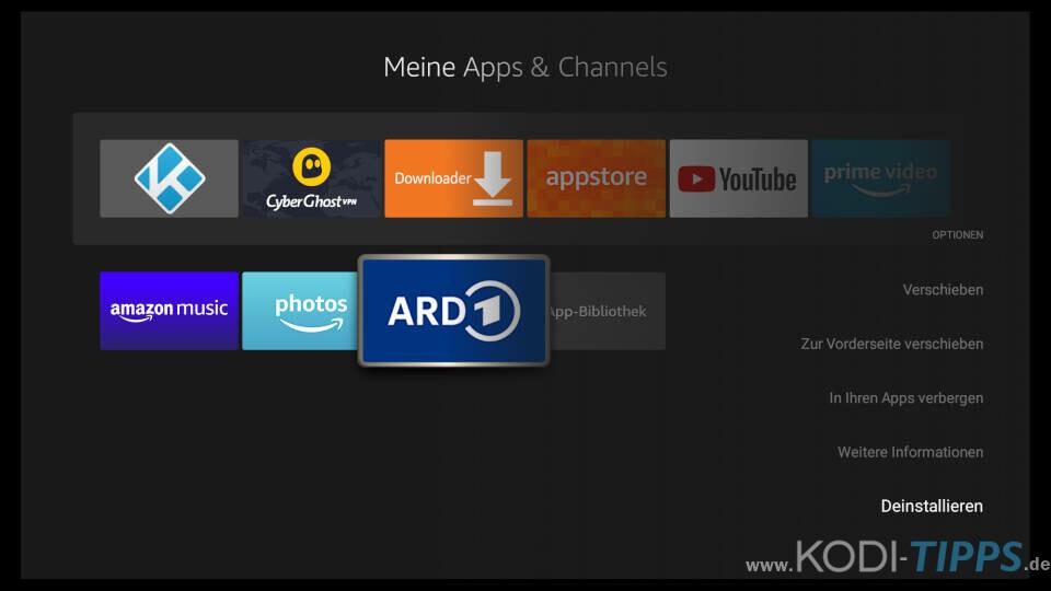 Fire TV Apps löschen - Schritt 3