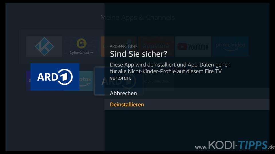 Fire TV Apps löschen - Schritt 4