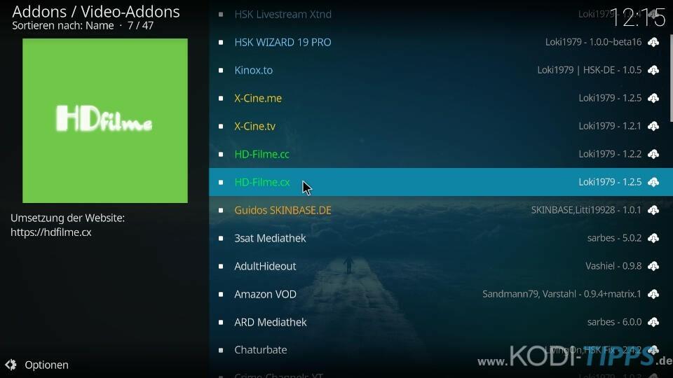 HD-Filme Kodi Addon installieren - Schritt 2