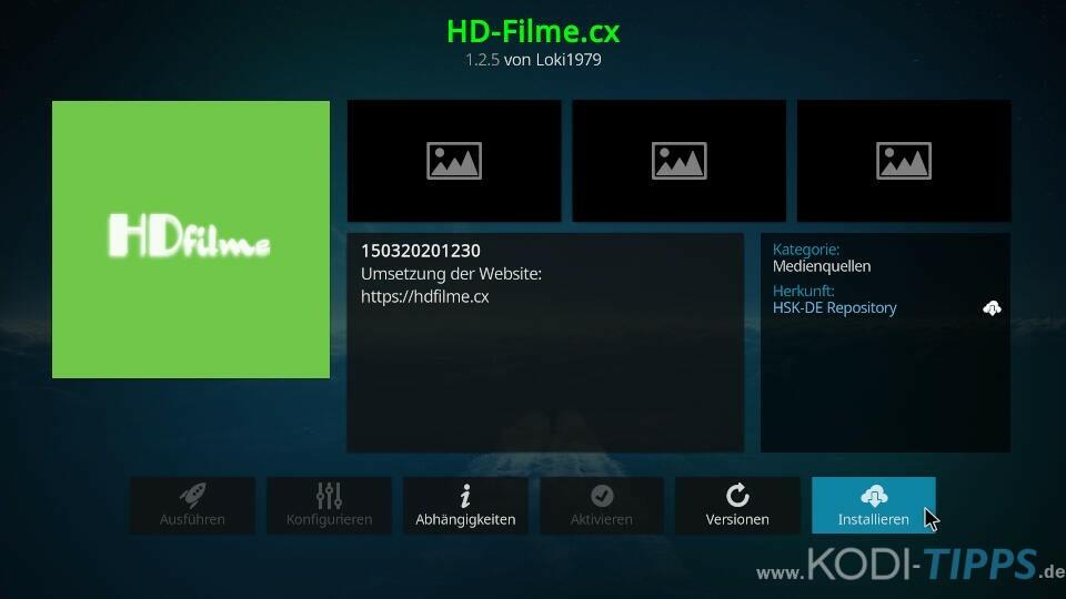 HD-Filme Kodi Addon installieren - Schritt 3